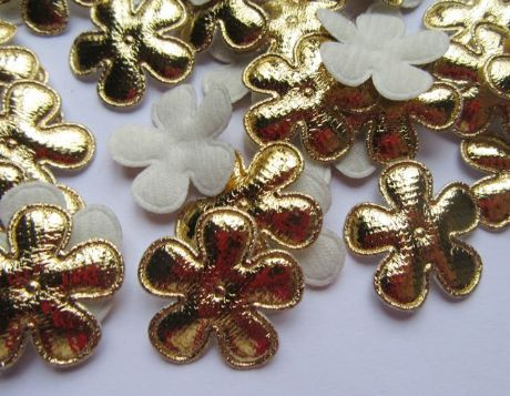10 x 1 INCH GOLD DAISY FLOWER APPLIQUE EMBELLISHMENTS HAIR BOWS HEADBANDS CRAFTS